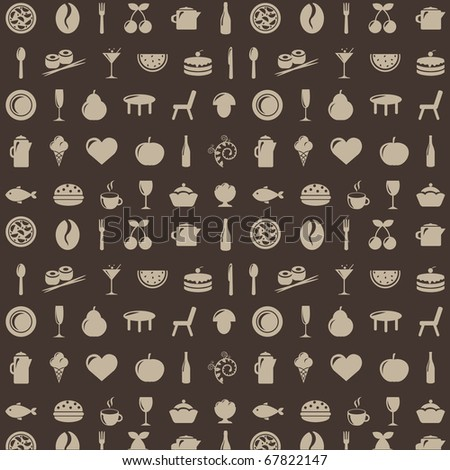 Restaurant Background With Icons - stock photo
