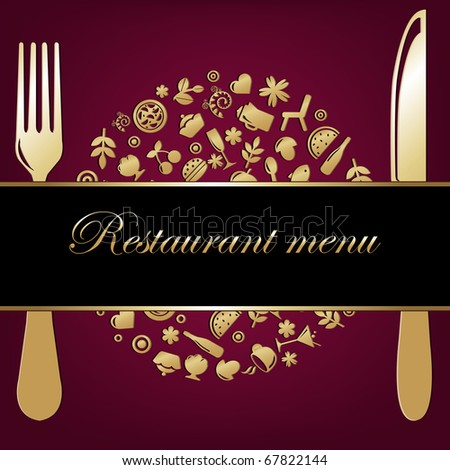 Restaurant Background With Restaurant Icons In Form Of Sphere With Plug And Knife - stock photo