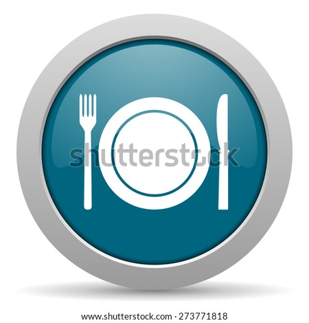 restaurant blue glossy web icon