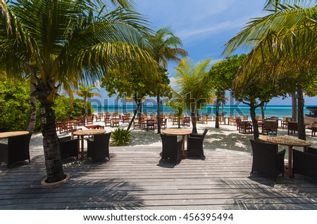 restaurant by the ocean under palm tree