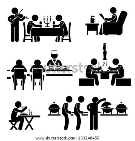 Restaurant Cafe Food Drink Candlelight Dinner Coffee Shop Japanese Sushi Korean BBQ Buffet Stick Figure Pictogram Icon - stock photo