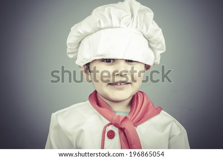 restaurant, child dress funny chef, cooking utensils - stock photo