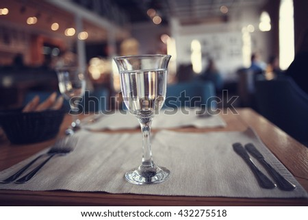 restaurant clean glass - stock photo