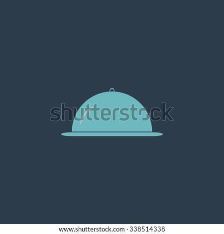 Restaurant cloche. Colored simple icon. Flat retro color modern illustration symbol - stock photo