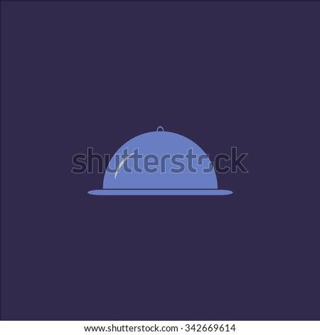 Restaurant cloche. Colorful retro flat icon - stock photo