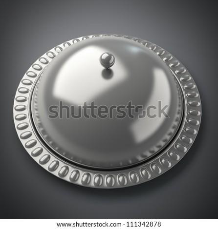 Restaurant cloche  3d render High resolution. - stock photo