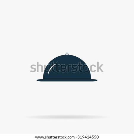 Restaurant cloche. Flat web icon or sign on grey background with shadow. Collection modern trend concept design style illustration symbol - stock photo