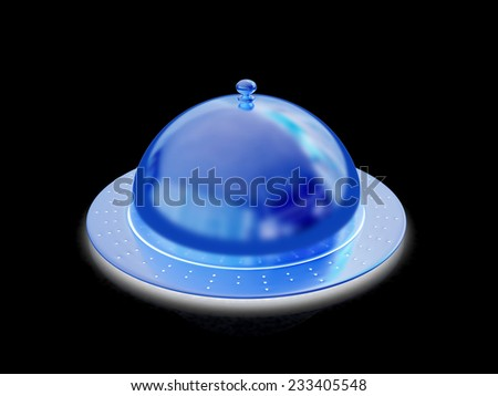 Restaurant cloche isolated on black background  - stock photo