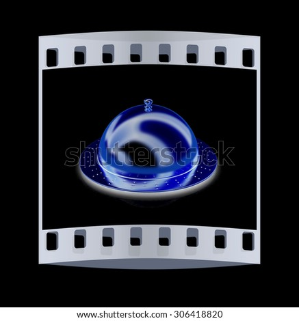 Restaurant cloche isolated on blsck background. The film strip - stock photo