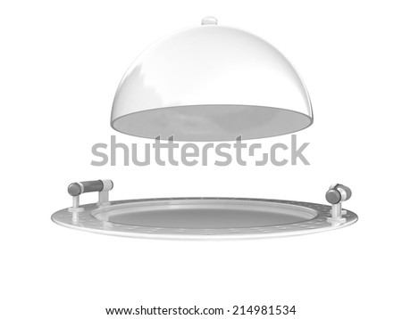 Restaurant cloche isolated on white background  - stock photo
