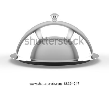Restaurant cloche on white background - stock photo