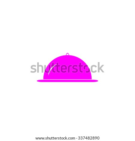Restaurant cloche. Pink icon on white background. Flat pictograph - stock photo