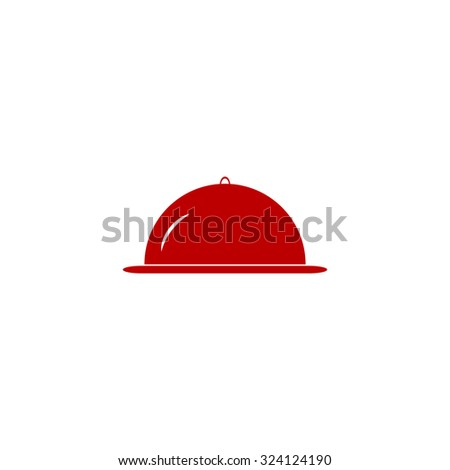 Restaurant cloche. Red flat icon. Illustration symbol on white background - stock photo