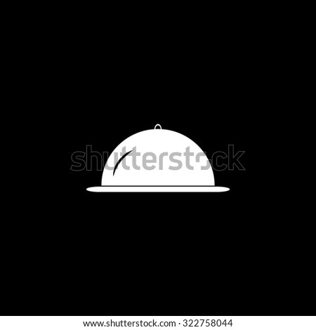 Restaurant cloche. Simple icon. Black and white. Flat illustration - stock photo