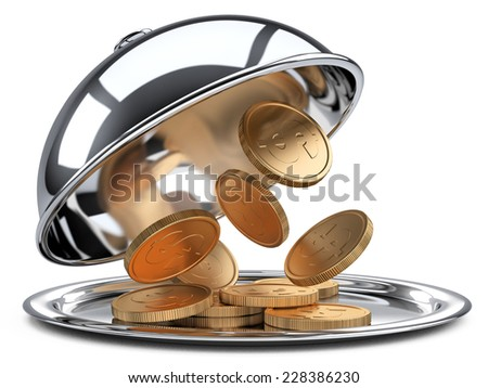 Restaurant cloche with golden coins and open lid. 3d illustration isolated on a white background - stock photo
