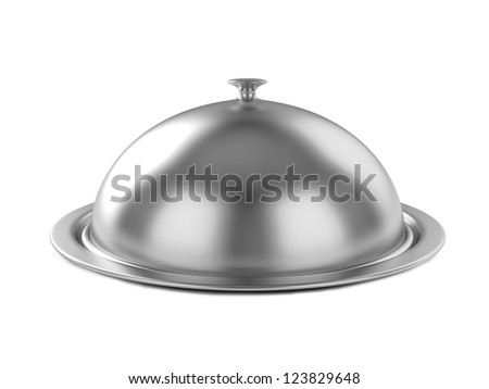 Restaurant cloche with lid. 3d illustration