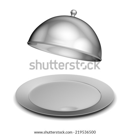 Restaurant cloche with lid - isolated on white background