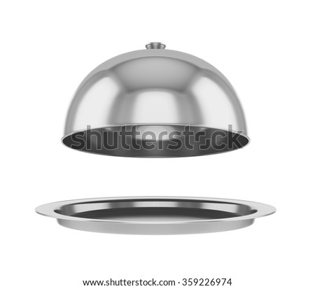 Restaurant cloche with open lid. - stock photo