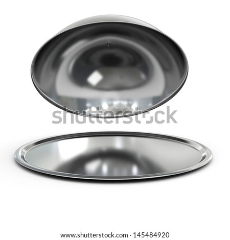Restaurant cloche with open lid, 3d - stock photo
