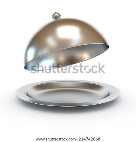 Restaurant cloche with open lid 3d illustration - stock photo
