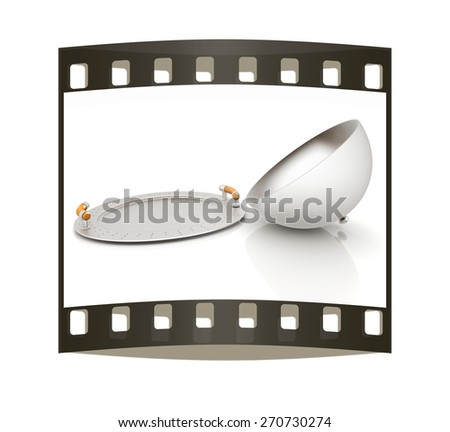 restaurant cloche with open lid. The film strip - stock photo