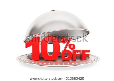 Restaurant cloche with 10 percent off Sign on a white background - stock photo