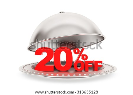 Restaurant cloche with 20 percent off Sign on a white background - stock photo