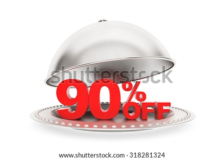 Restaurant cloche with 90 percent off Sign on a white background - stock photo