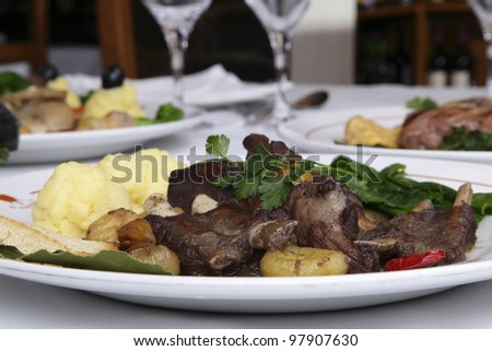 Restaurant dish - boar stew with chestnuts