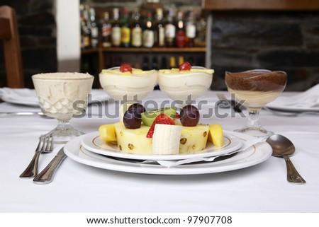 Restaurant dish -  Fruit assortment - stock photo