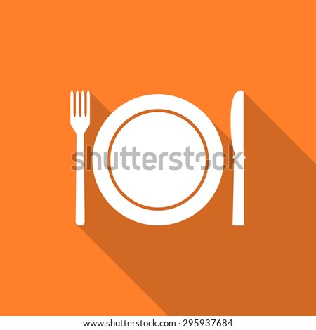 restaurant flat design modern icon with long shadow for web and mobile app  - stock photo