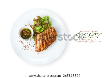 Restaurant food - chicken fillet grilled steak isolated at the white background - stock photo
