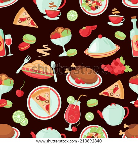 stock photo restaurant food drink menu chicken ice cream dishes seamless pattern illustration 213892840 - Каталог — Фотообои «Еда, фрукты, для кухни»