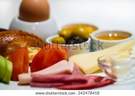 Restaurant gourmet breakfast menu set in resort hotel served - stock photo