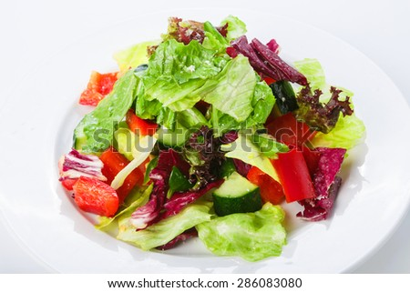 Restaurant healthy food, diet and vegetarian nutrition - mix of vegetables with fresh lettuce - stock photo