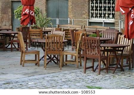 Restaurant in canary wharf - stock photo