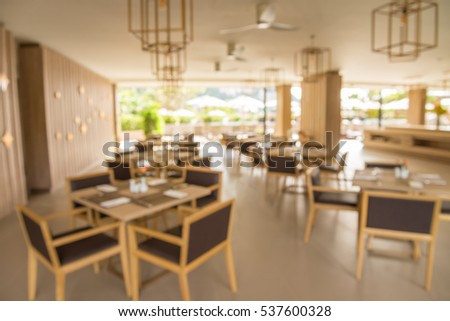 Restaurant in hotel blur background with bokeh