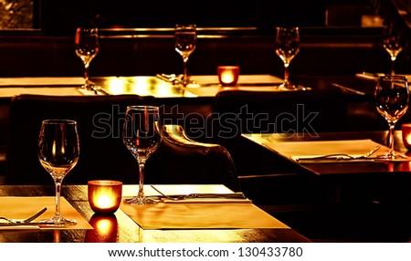 restaurant interior at night - stock photo