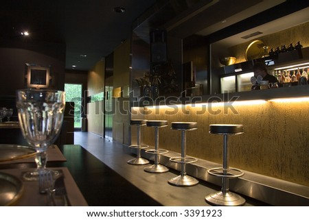 Restaurant interior with bar