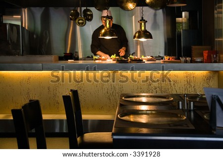 Restaurant interior with served table - stock photo