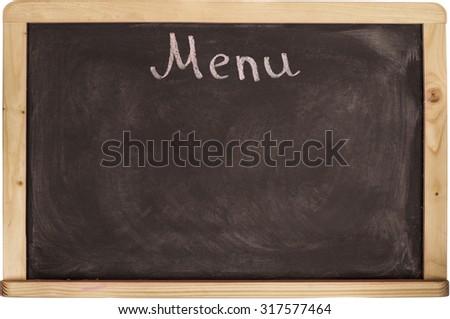 Restaurant menu board on blackboard. isolated over white background - stock photo