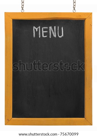 Restaurant menu board on blackboard. isolated over white background