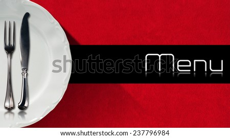 Restaurant Menu Design. Horizontal restaurant menu with empty white plate and cutlery, fork and knife, on red velvet background with black horizontal band with written menu - stock photo