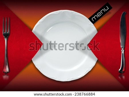Restaurant Menu Design. Horizontal restaurant menu with empty white plate and cutlery, fork and knife, on red and orange velvet background with black label with written menu  - stock photo