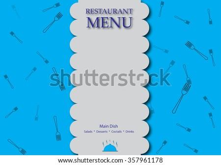 Restaurant menu design in blue and white. - stock photo