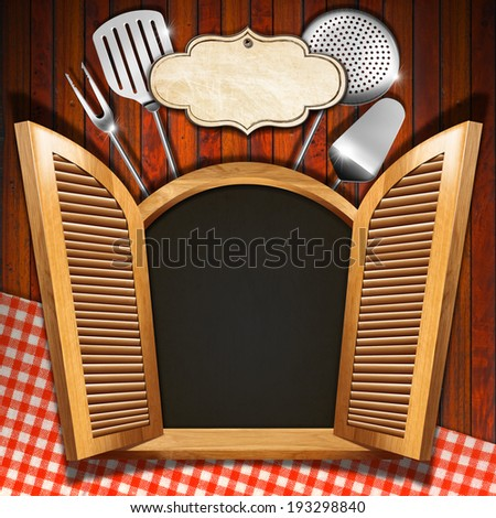 Restaurant Menu on Wooden Window / Wooden window (inside black) with open shutters, kitchen utensils and empty label on wooden wall with red and white tablecloth - stock photo