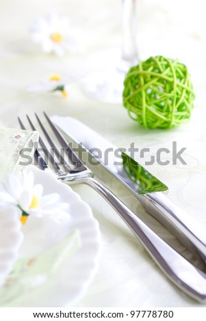 Restaurant menu series. Spring table setting with flowers and decoration