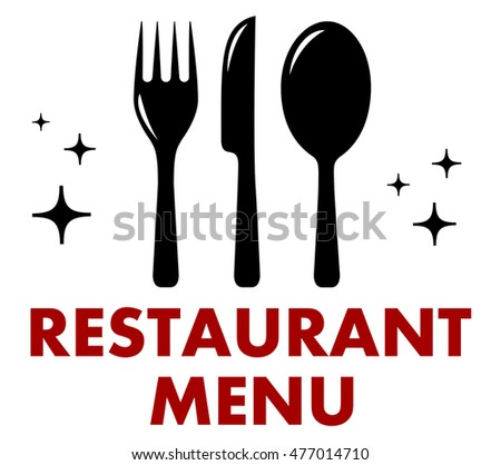 restaurant menu symbol with fork, knife and spoon