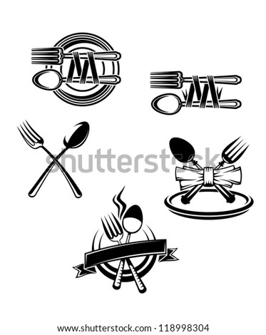 Restaurant menu symbols and embellishments isolated on white background, such a logo. Vector version also available in gallery - stock photo