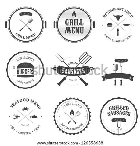 Restaurant menu vintage design elements and badges set - stock photo